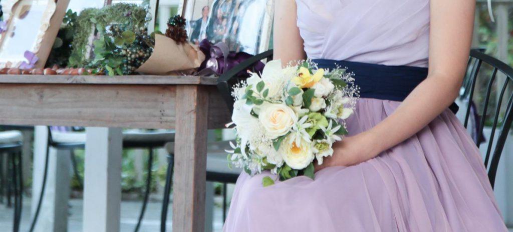 ドレス紫×ブーケ白