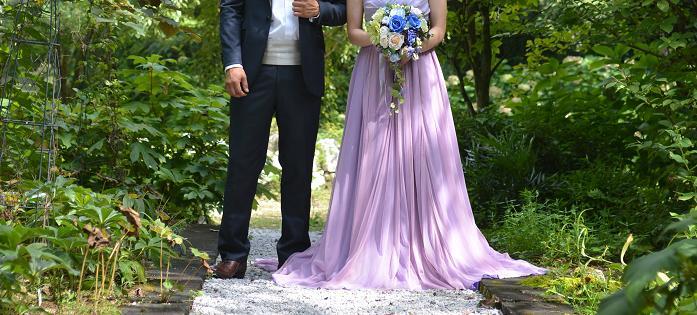 ドレス紫×ブーケ青